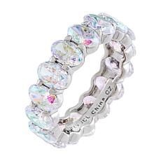 Absolute™ Sterling Silver Aurora Borealis Oval Cut Eternity Ring