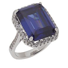 Absolute™ Sterling Silver Blue Cubic Zirconia Emerald-Cut Halo Ring