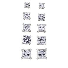 Absolute™ Sterling Silver Cubic Zirconia 5-piece Stud Earrings Set