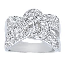Absolute™ Sterling Silver Cubic Zirconia Belt Design Crossover Ring