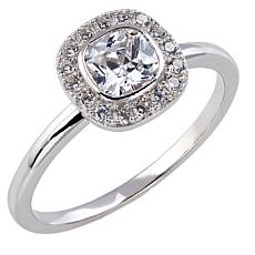 Absolute™ Sterling Silver Cubic Zirconia Bezel-Set Cushion Halo Ring