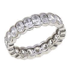 Absolute™  Sterling Silver Cubic Zirconia Bezel-Set Oval Eternity Ring