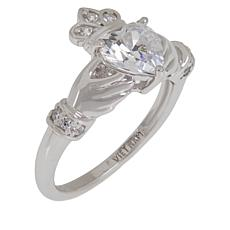 Absolute™ Sterling Silver Cubic Zirconia Claddagh Heart Ring