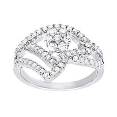 Absolute™ Sterling Silver Cubic Zirconia Floral Crown-Style Ring