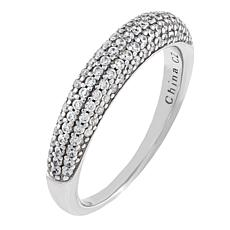 Absolute™ Sterling Silver Cubic Zirconia Micro Pavé Band Ring