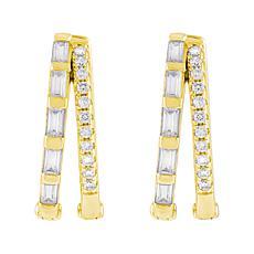 Absolute™ Sterling Silver Cubic Zirconia Mixed-Cut Split Hoop Earrings