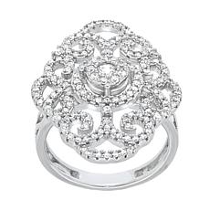 Absolute™ Sterling Silver Cubic Zirconia Openwork Scroll Ring
