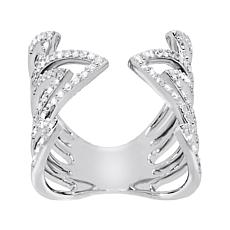 Absolute™ Sterling Silver Cubic Zirconia Pavé Open Cuff Ring