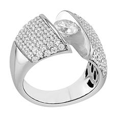 Absolute™ Sterling Silver Cubic Zirconia Pavé Tension-Set Ring