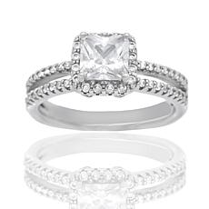 Absolute™ Sterling Silver Cubic Zirconia Princess Pavé Solitaire Ring