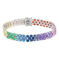 Absolute™ Sterling Silver Cubic Zirconia Rainbow Oval Tennis Bracelet