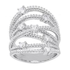 Absolute™ Sterling Silver Cubic Zirconia Round Openwork Orbit Ring