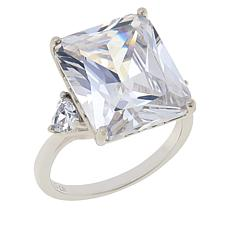 Absolute™ Sterling Silver Cubic Zirconia Triangular Sides 3-Stone Ring