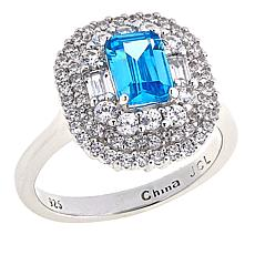 Absolute™ Sterling Silver CZ and Simulated Blue Topaz Halo Ring