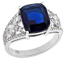 Absolute™ Sterling Silver CZ and Simulated Sapphire Floral Sides Ring