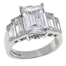Absolute™ Sterling Silver CZ  Emerald-Cut with Baguette Sides Ring