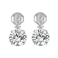 Absolute™ Sterling Silver CZ Triple-Round Stem Drop Earrings