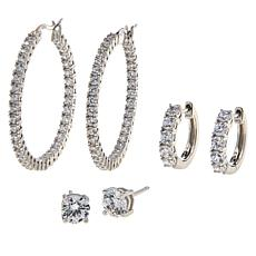 Absolute™ Sterling Silver Hugger, Hoop and Stud 3-piece Earrings Set