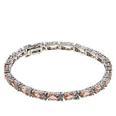 Absolute™ Sterling Silver Morganite-Color and Clear CZ Line Bracelet