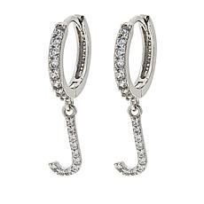 Absolute™ Sterling Silver Pavé Initial Drop Earrings