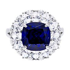 Absolute™ Sterling Silver Tanzanite-Color Floral Cluster Cocktail Ring