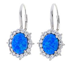 Absolute Synthetic Opal And Cz Sterling Silver Frame Drop Earrings