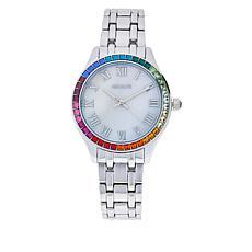 Absolute™ Women's Rainbow Cubic Zirconia Bezel Bracelet Watch