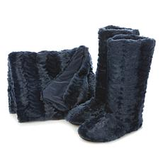 Adrienne Landau Faux Fur Throw and Slipper Booties Set