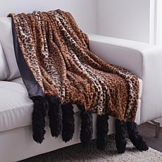 Adrienne Landau Faux Fur Throw with Tails
