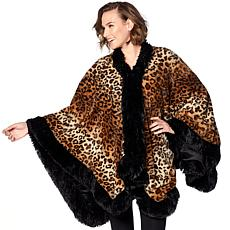 Adrienne Landau Faux Fur Trim Angel Wrap
