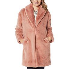Adrienne Landau Faux Mink Shawl Collar Coat