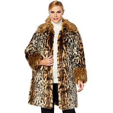 Adrienne Landau Leopard-Print Coat with Faux Fox Trim