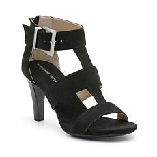 Adrienne Vittadini Varsity Dressy Leather Sandal - Black