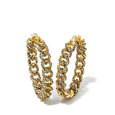 "AKKAD ""Chain of Love"" Curb-Link Hoop Earrings"