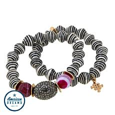 "Akola ""Glimpse of the Mara"" Agate, Karatasi Bead & Pavé Ball Bracelets"