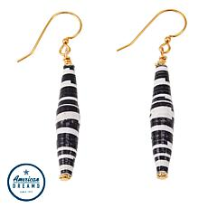 Akola Karatasi Bead Elongated Linear Drop Earrings