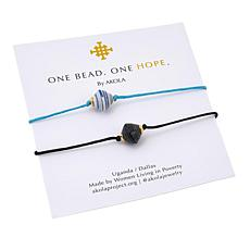 "Akola ""One Hope"" Karatasi Bead 2-piece Bracelet Set"