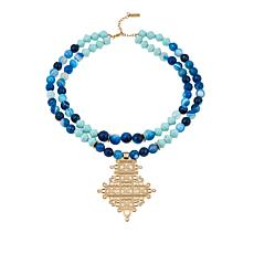 "Akola ""Sparkly Blue Lamu"" Agate and Karatasi Bead Divinity Necklace"