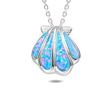 Alamea Sterling Silver Synthetic Blue Opal Sunrise Seashell Pendant