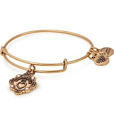 "Alex & Ani ""Goddaughter"" Adjustable Wire Bangle Crystal Charm Bracelet"