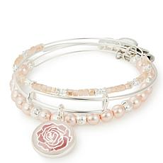 Alex & Ani Rose Art Infusion Set of 3 Bangles - Silvertone
