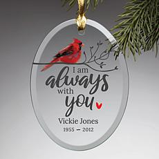 Always With You Memorial Personalized Oval Glass Ornament