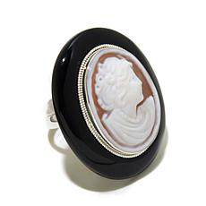 "AMEDEO ""Auto Ritratto"" 25mm Cameo Onyx Frame Ring"