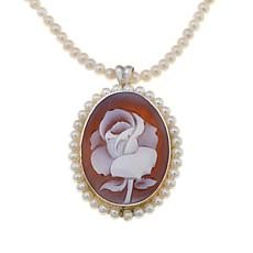 AMEDEO Disney's Beauty and the Beast Rose Pearl Pendant