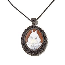 "AMEDEO ""White Rabbit"" 40mm Cameo Pendant with Chain"