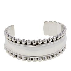 "Amena K® Silver Designs Beaded 6-1/2"" Oval Cuff Bracelet"
