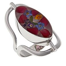 Amena K® Silver Designs Dried Flower and Shell Reversible Ring