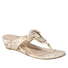 Andrew Geller Insta Snake-Embossed Low-Wedge Sandal