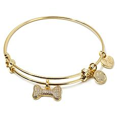 "Angelica Dog Bone Charm 7"" Slide-Clasp Bracelet"