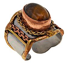 Anju Simulated Tiger's Eye Tri-Tone Oval Adjustable Ring
